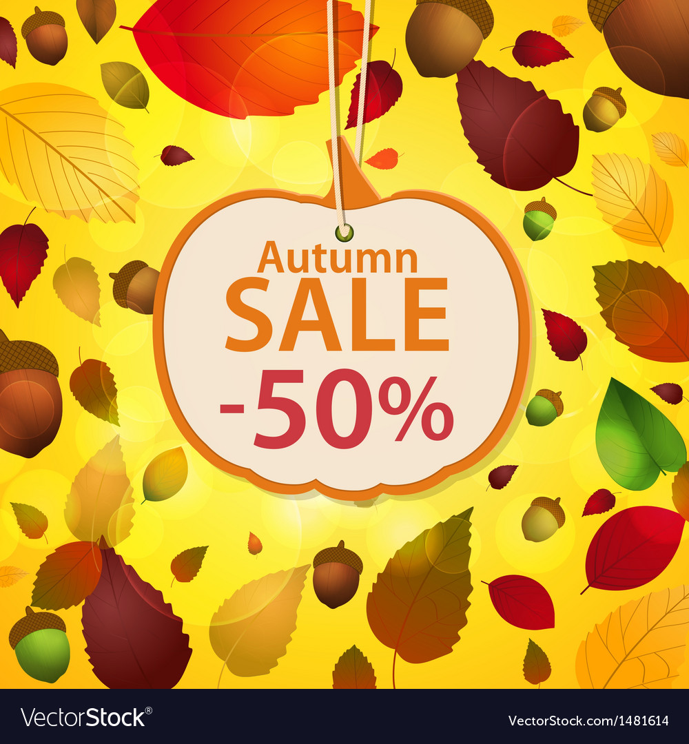 Autumn sale label and leaf background vector | Price: 1 Credit (USD $1)