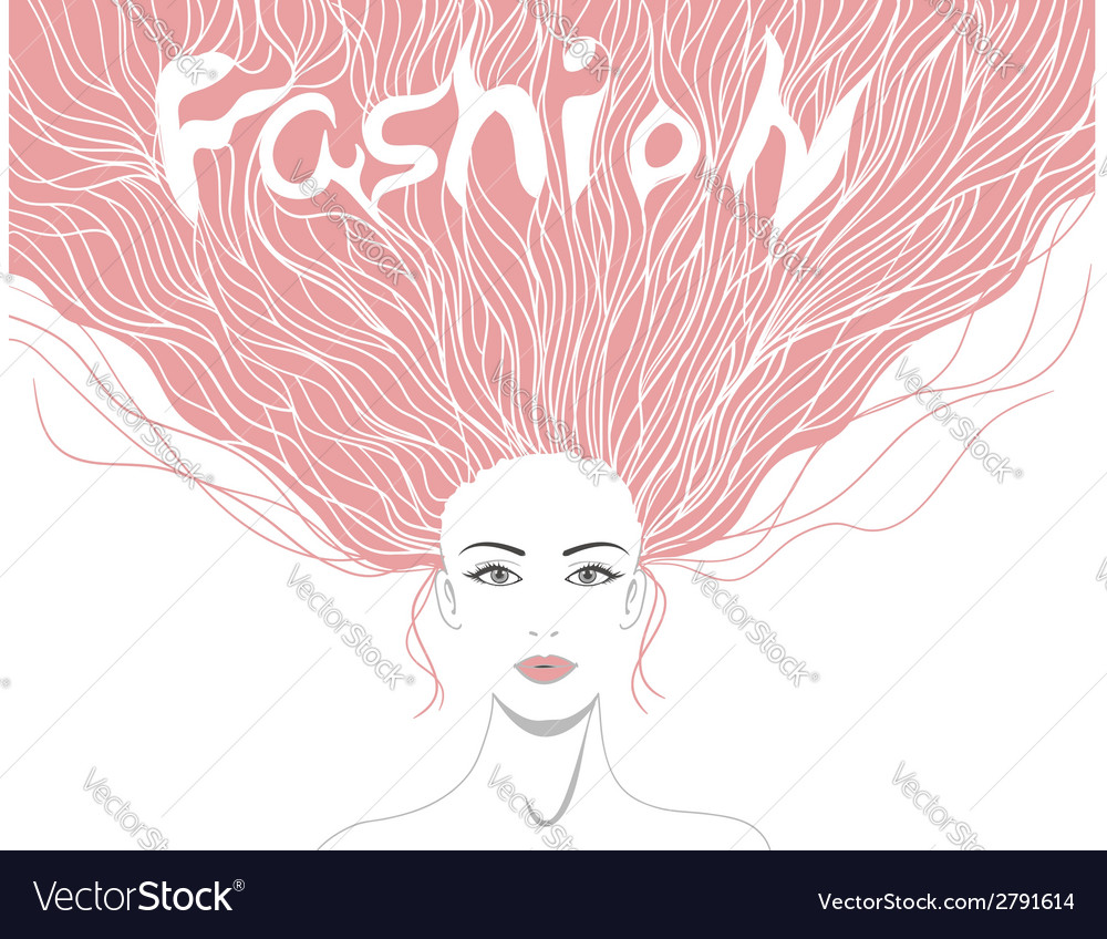 Beautiful lady with hairstyle and word fashion in vector | Price: 1 Credit (USD $1)