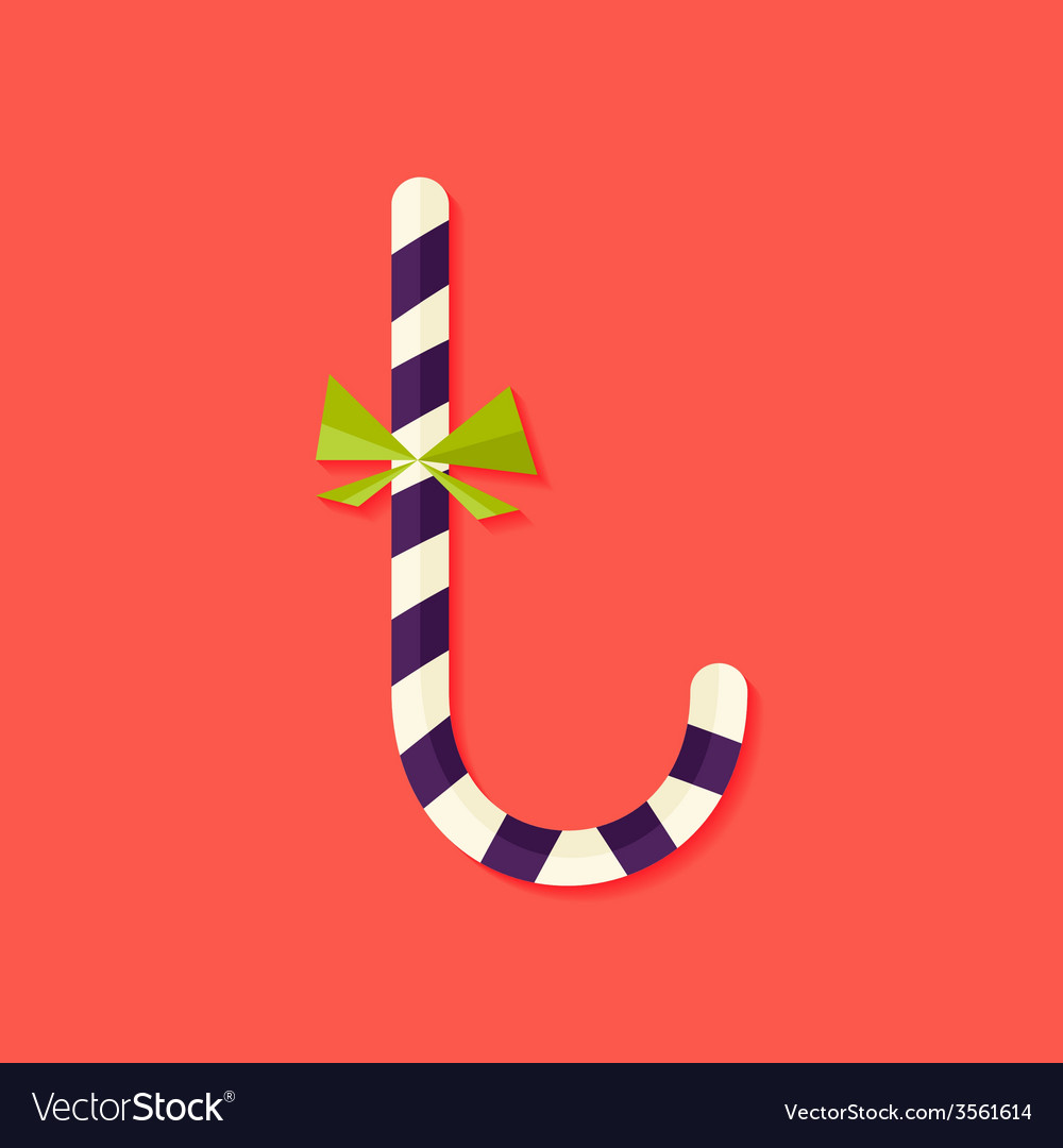 Candy stick christmas flat icon vector | Price: 1 Credit (USD $1)