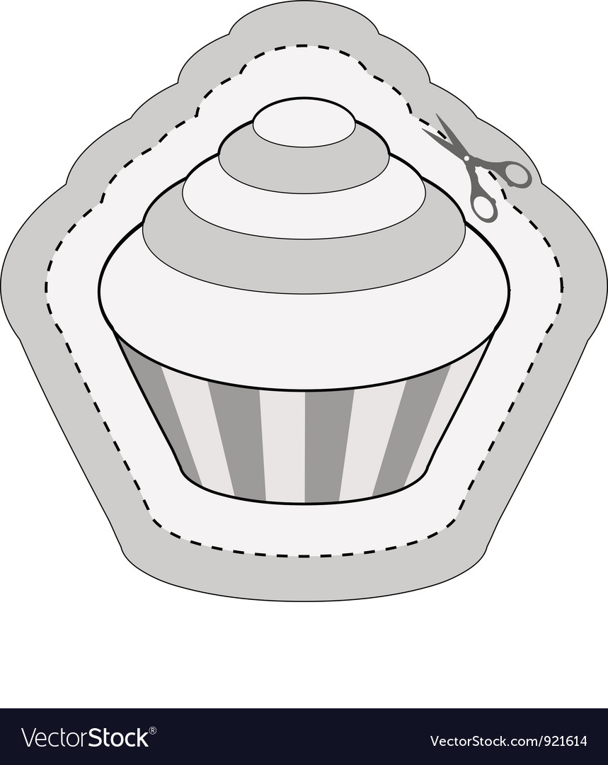 Coupon sticker with cupcake vector | Price: 1 Credit (USD $1)
