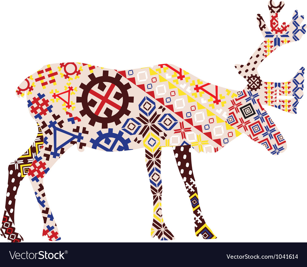 Deer in the patterns of lapland vector   Price: 1 Credit (USD $1)