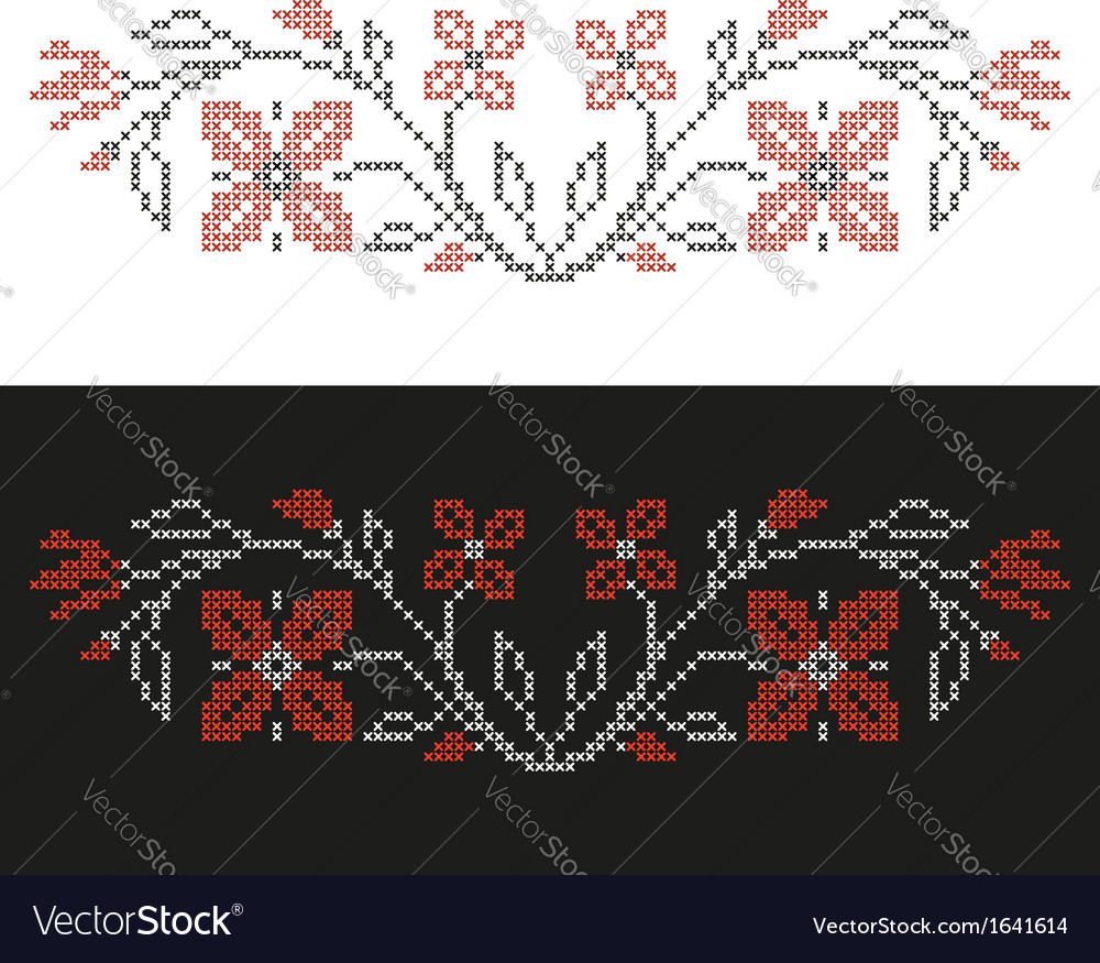 Design elements for cross-stitch embroidery vector   Price: 1 Credit (USD $1)
