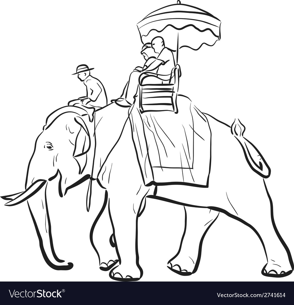 Elephant riding sketch vector | Price: 1 Credit (USD $1)