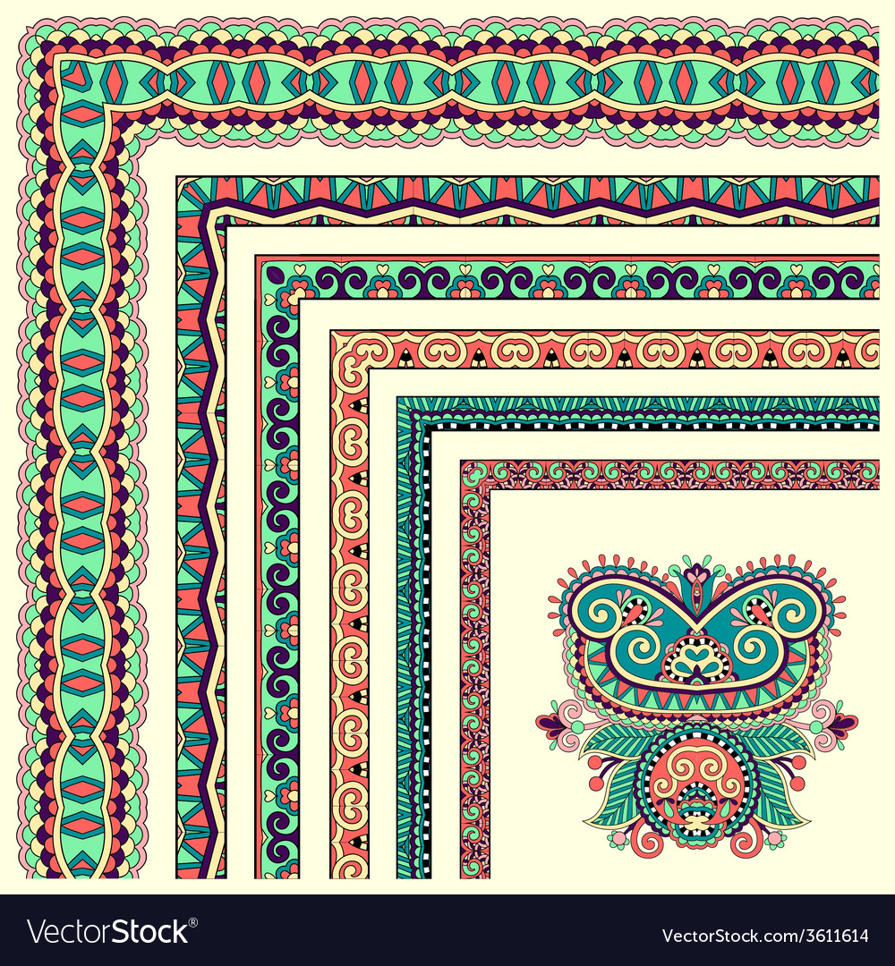 Floral vintage frame design set all components are vector | Price: 1 Credit (USD $1)