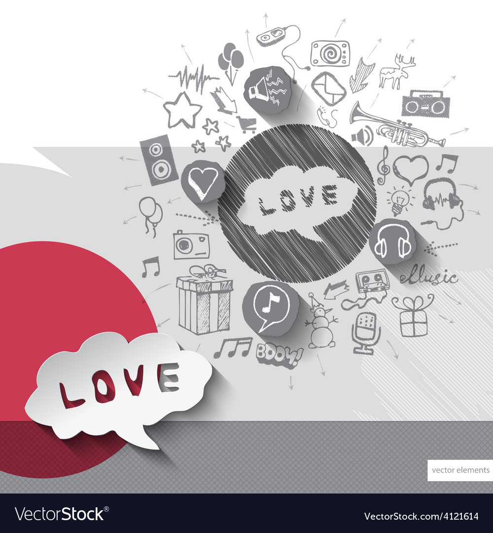 Hand drawn love icons with icons background vector | Price: 1 Credit (USD $1)