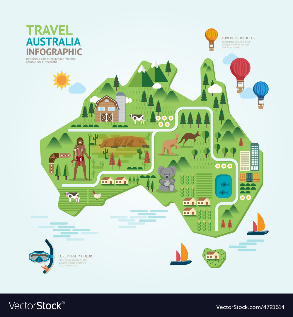 Infographic travel and landmark australia map shap vector | Price: 3 Credit (USD $3)