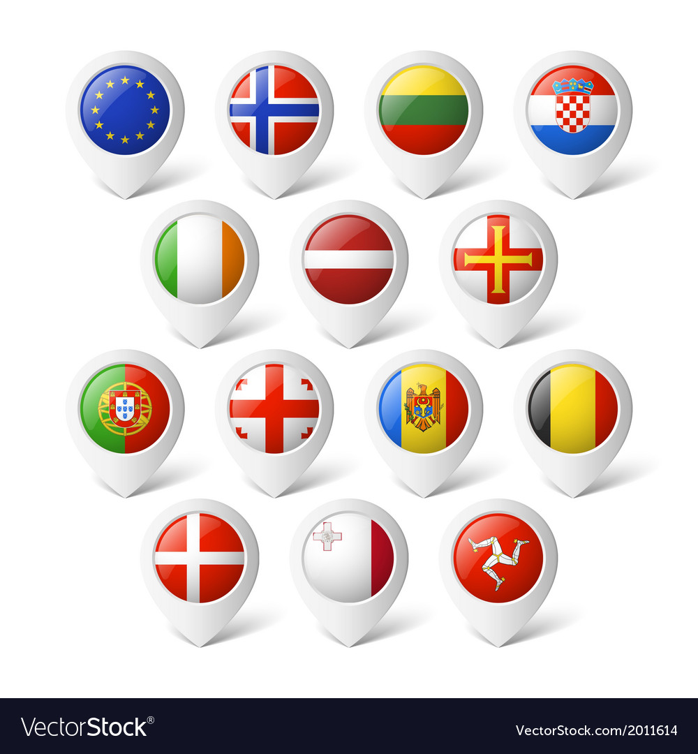 Map pointers with flags europe vector | Price: 1 Credit (USD $1)