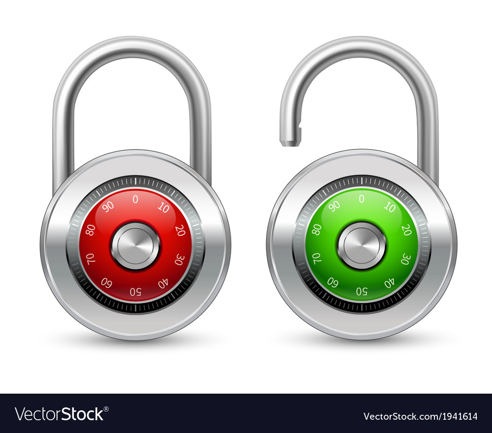 Open and closed realistic lock icon vector | Price: 1 Credit (USD $1)