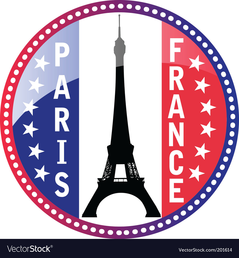 Paris and eiffel tower button vector | Price: 1 Credit (USD $1)
