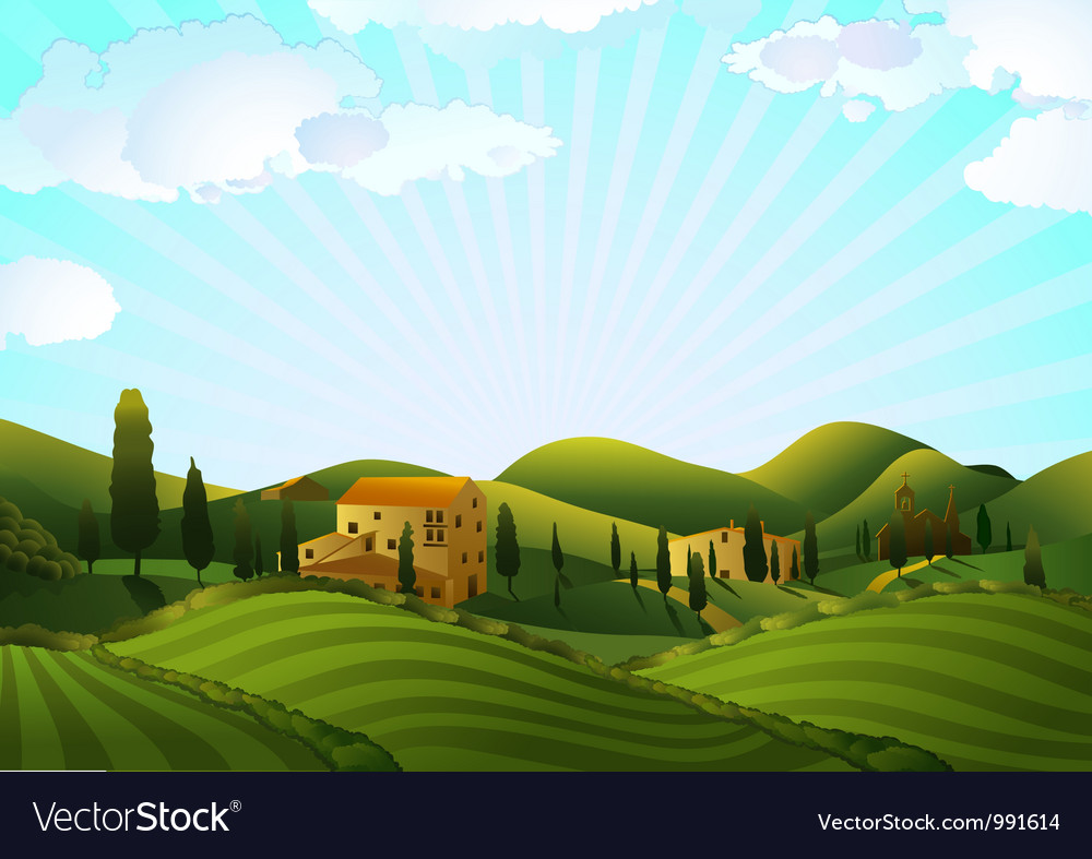 Rural landscape with fields and hills vector | Price: 3 Credit (USD $3)
