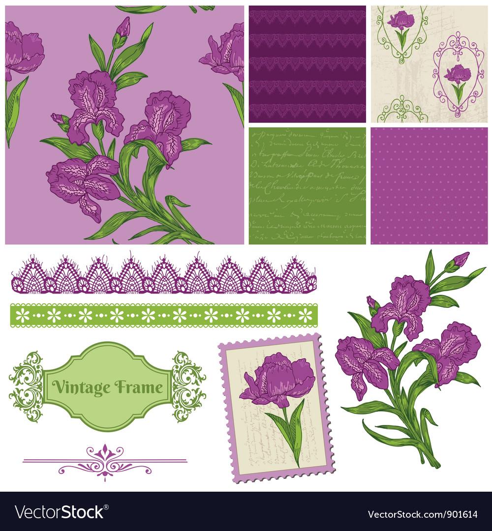 Scrapbook design elements - iris flowers vector | Price: 1 Credit (USD $1)