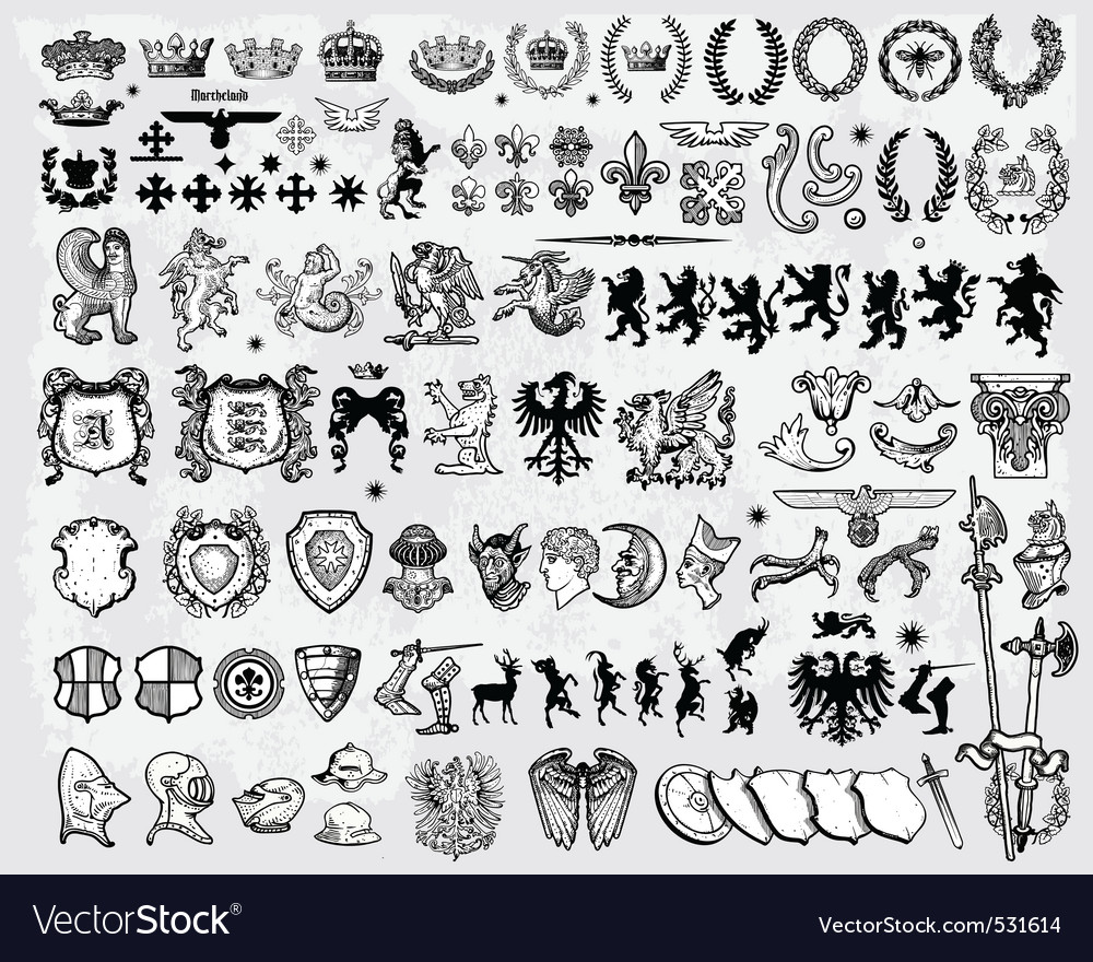 Set of heraldic elements vector | Price: 3 Credit (USD $3)