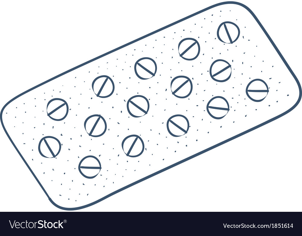 Tablets pills in a blister pack isolated on white vector | Price: 1 Credit (USD $1)