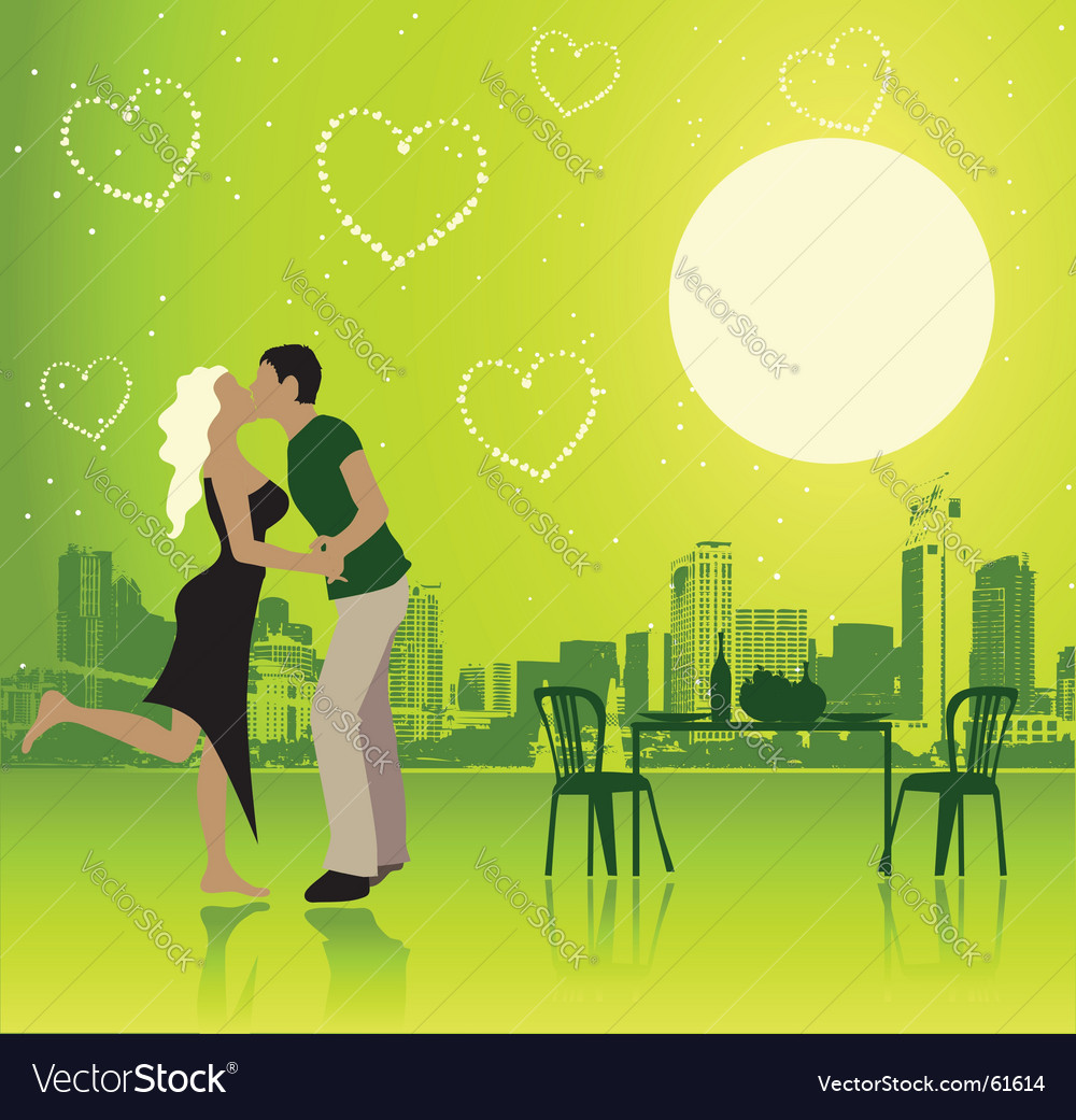Valentine day urban scene couple vector | Price: 1 Credit (USD $1)