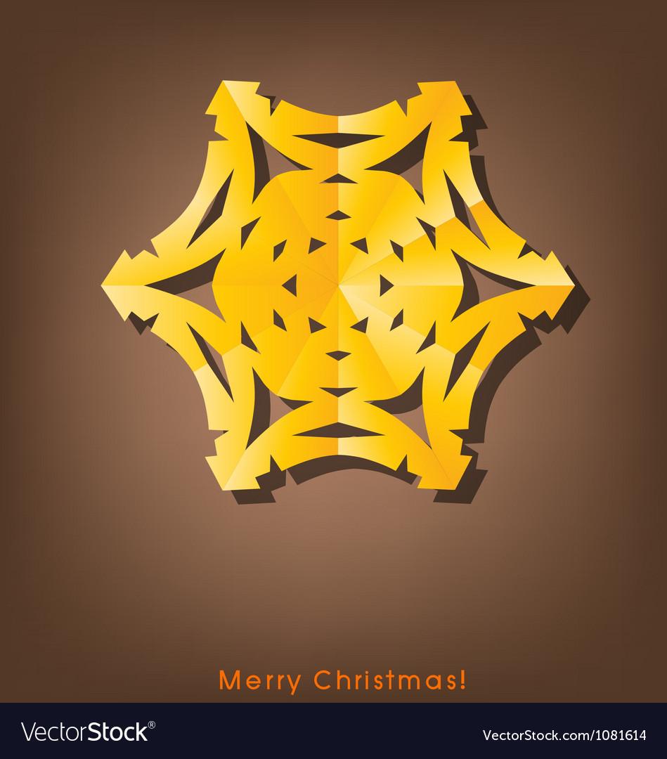 Vintage christmas postcard with origami snowflake vector | Price: 1 Credit (USD $1)