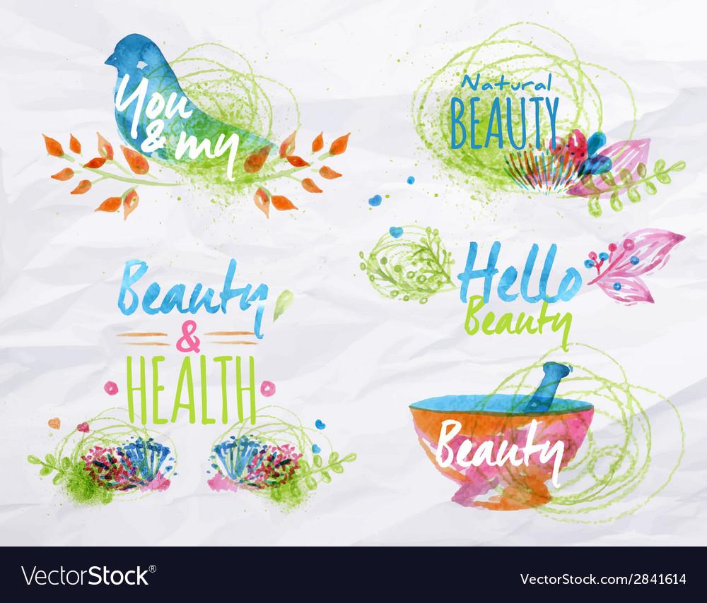 Watercolor symbols beauty vector   Price: 1 Credit (USD $1)