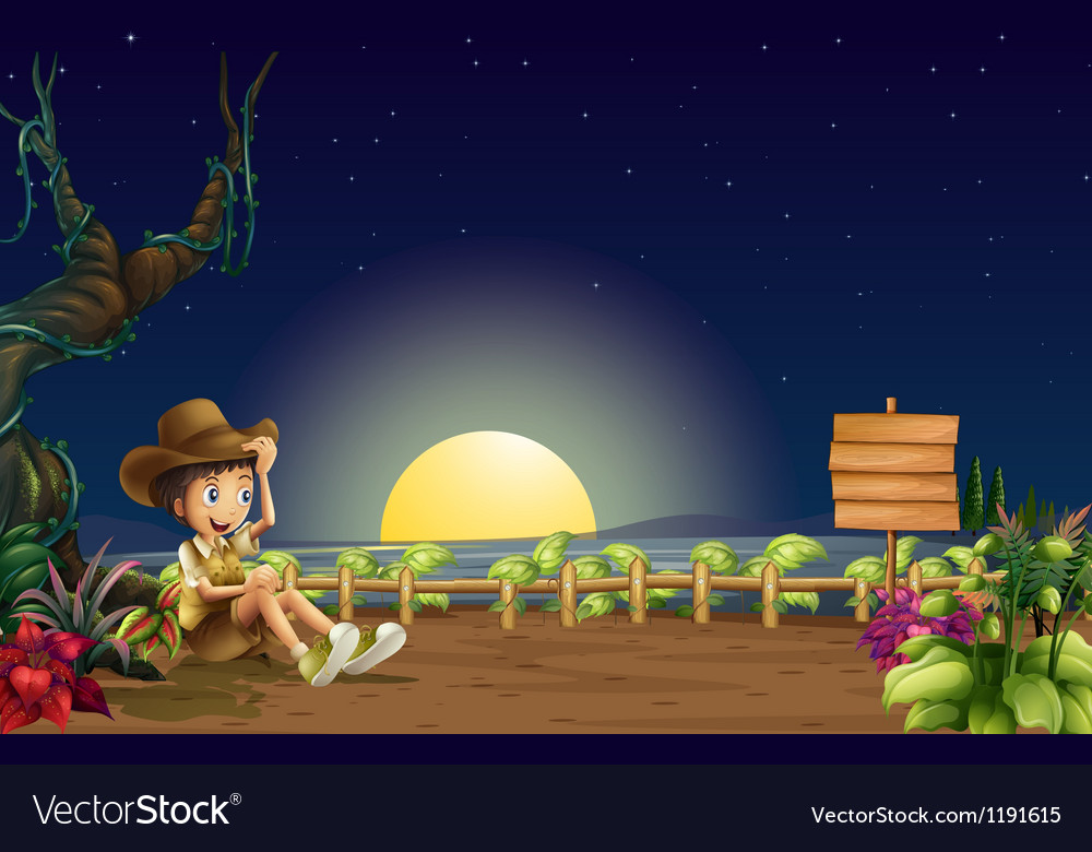 A boy inside a fence with an empty signage vector | Price: 1 Credit (USD $1)