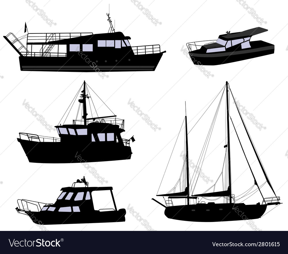Boats silhouettes vector | Price: 1 Credit (USD $1)