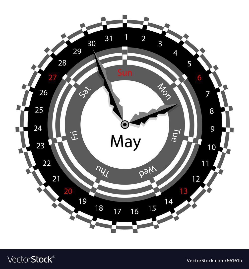 Clock calendar vector | Price: 1 Credit (USD $1)