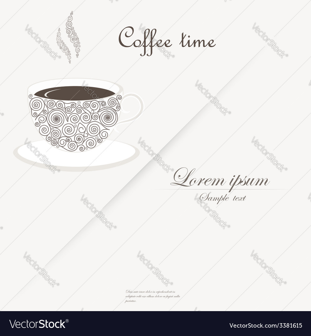 Cup of coffee with curly design elements vector | Price: 1 Credit (USD $1)