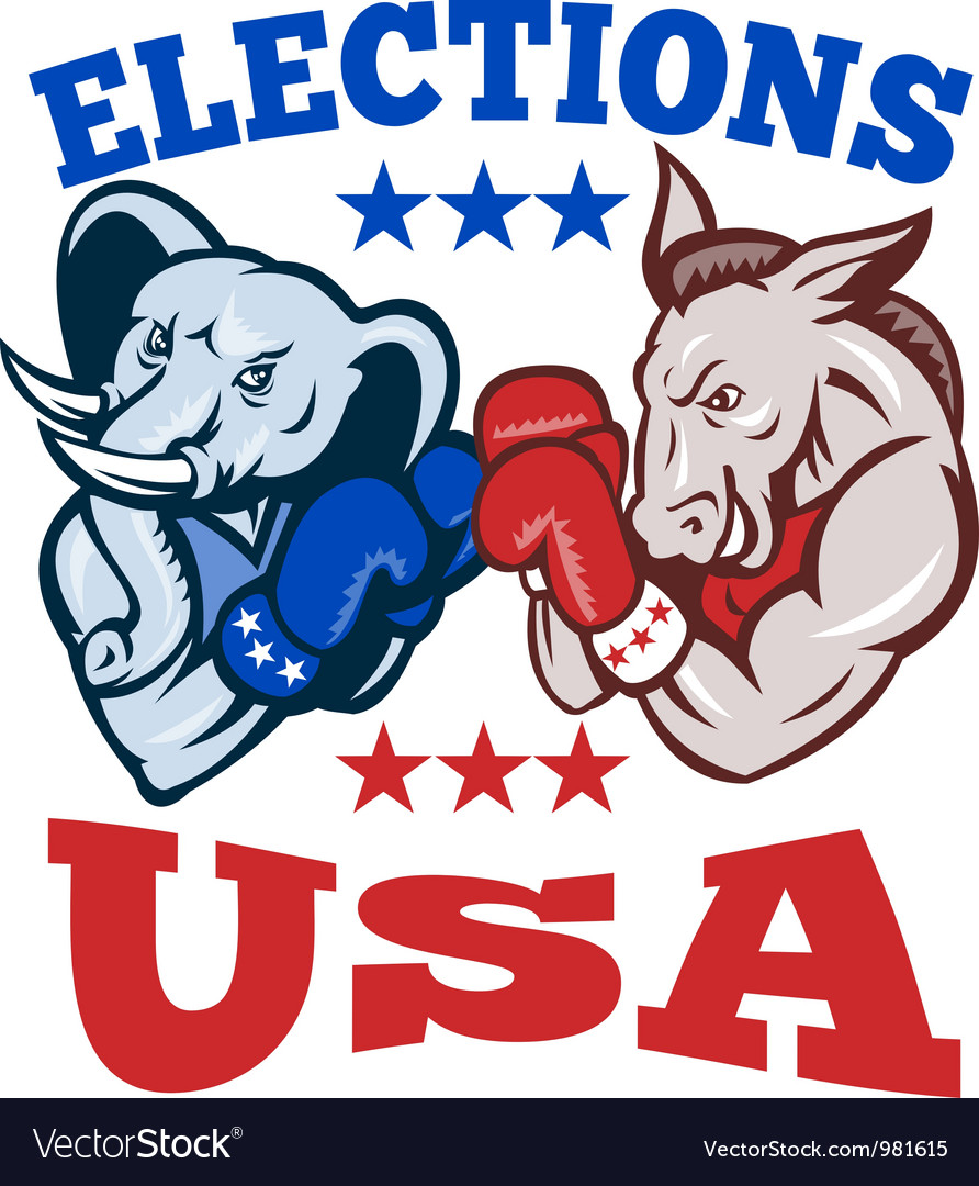 Democrat donkey republican elephant mascot usa vector | Price: 3 Credit (USD $3)