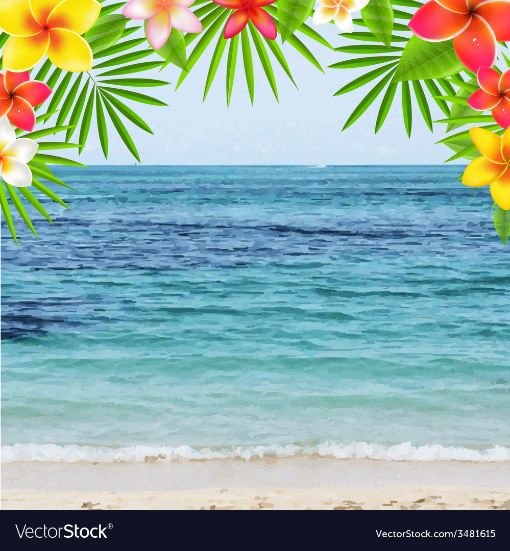 Happy summer time poster with frangipani vector | Price: 1 Credit (USD $1)