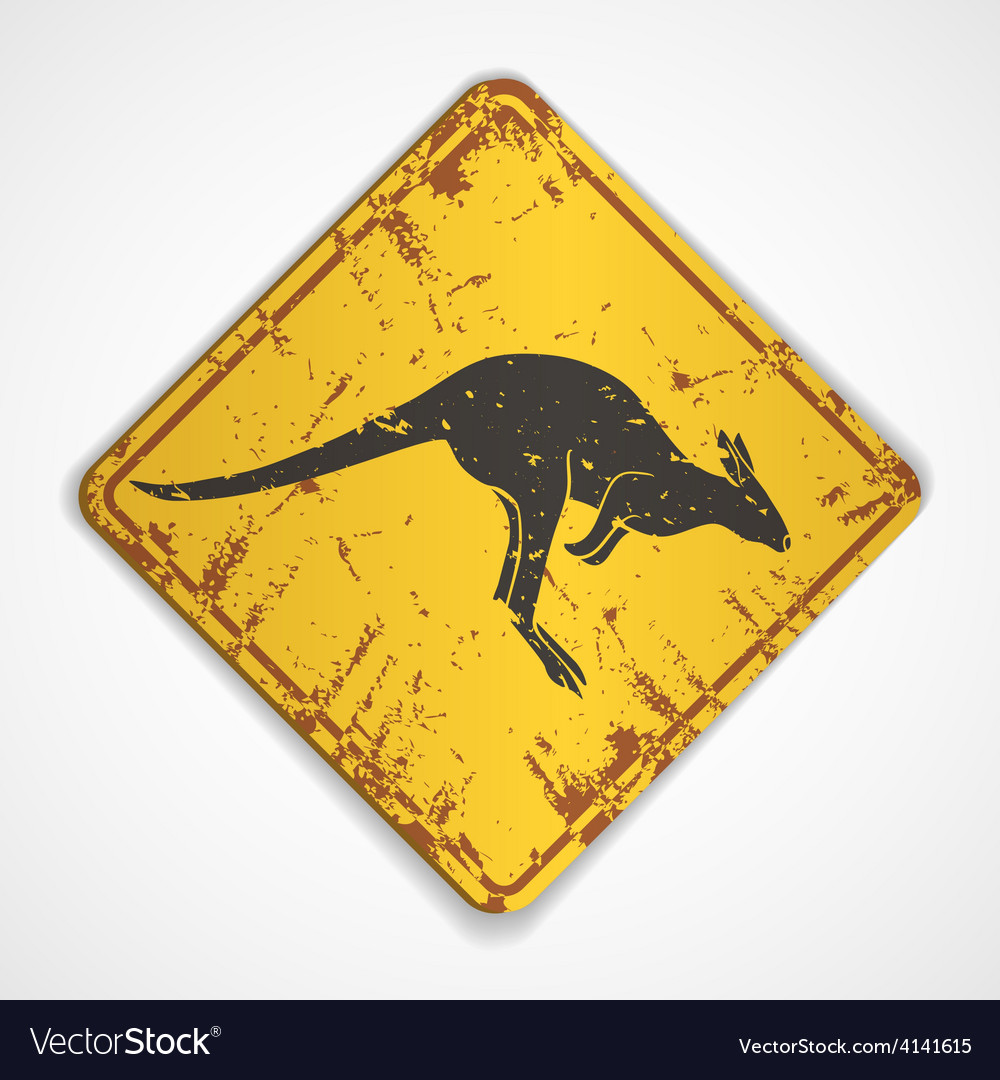 Kangaroo road sign vector | Price: 3 Credit (USD $3)