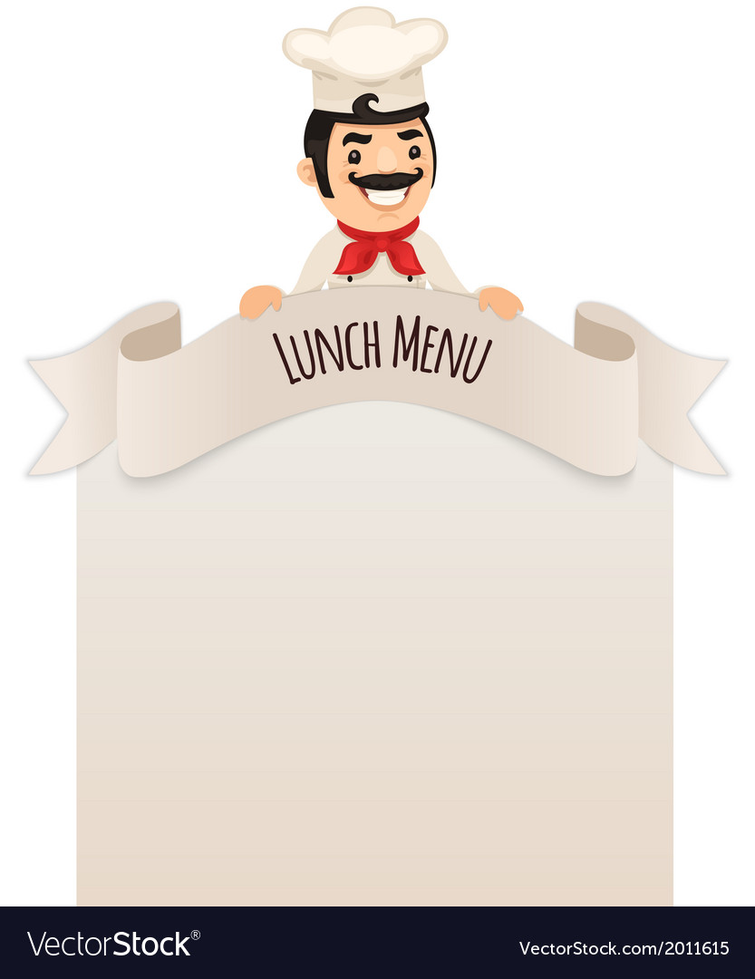 Male chef looking at blank menu on top vector | Price: 1 Credit (USD $1)