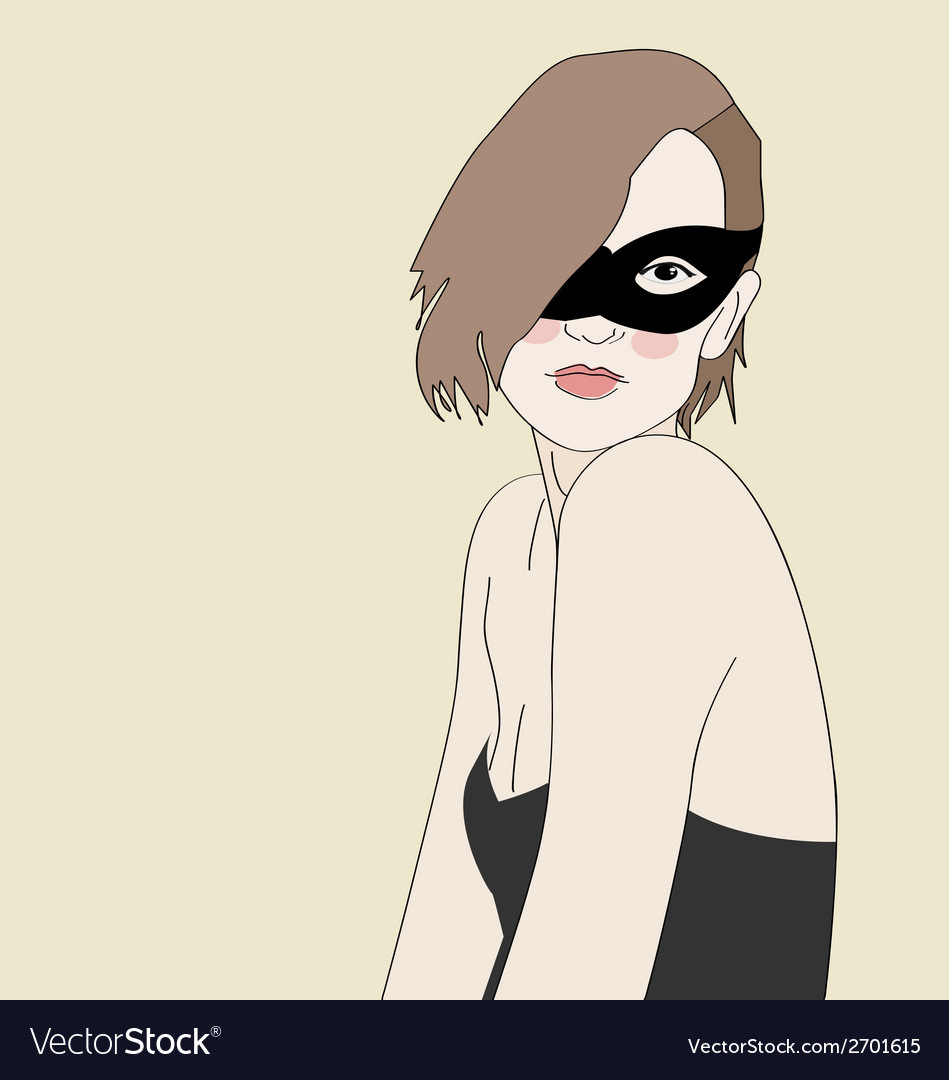 Masked beautiful girl vector | Price: 1 Credit (USD $1)