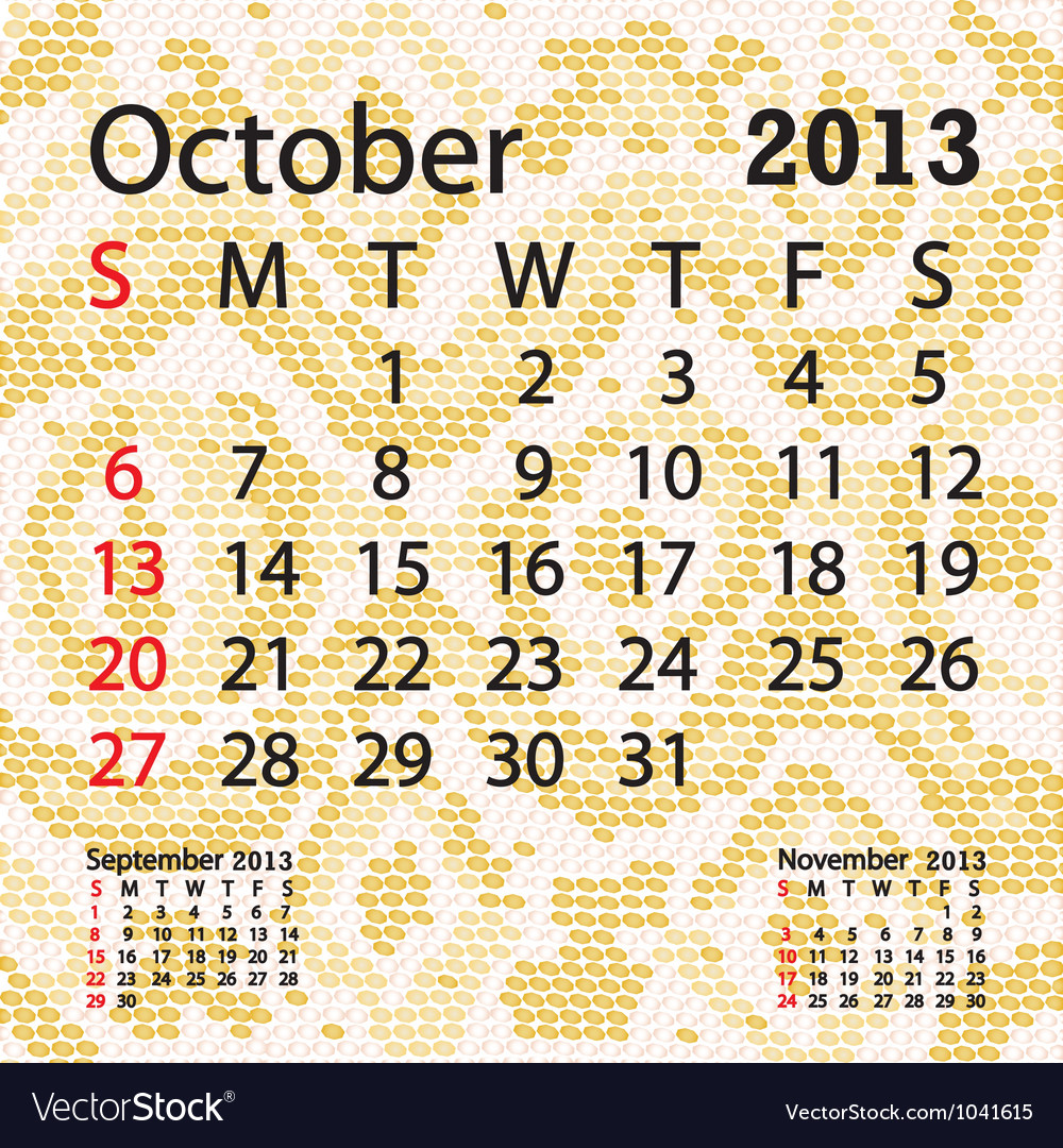October 2013 calendar albino snake skin vector | Price: 1 Credit (USD $1)