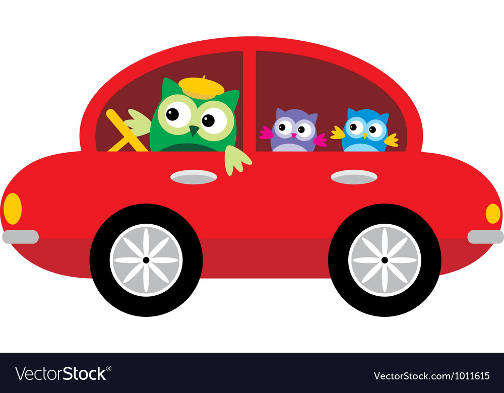 Owls traveling by car vector | Price: 1 Credit (USD $1)