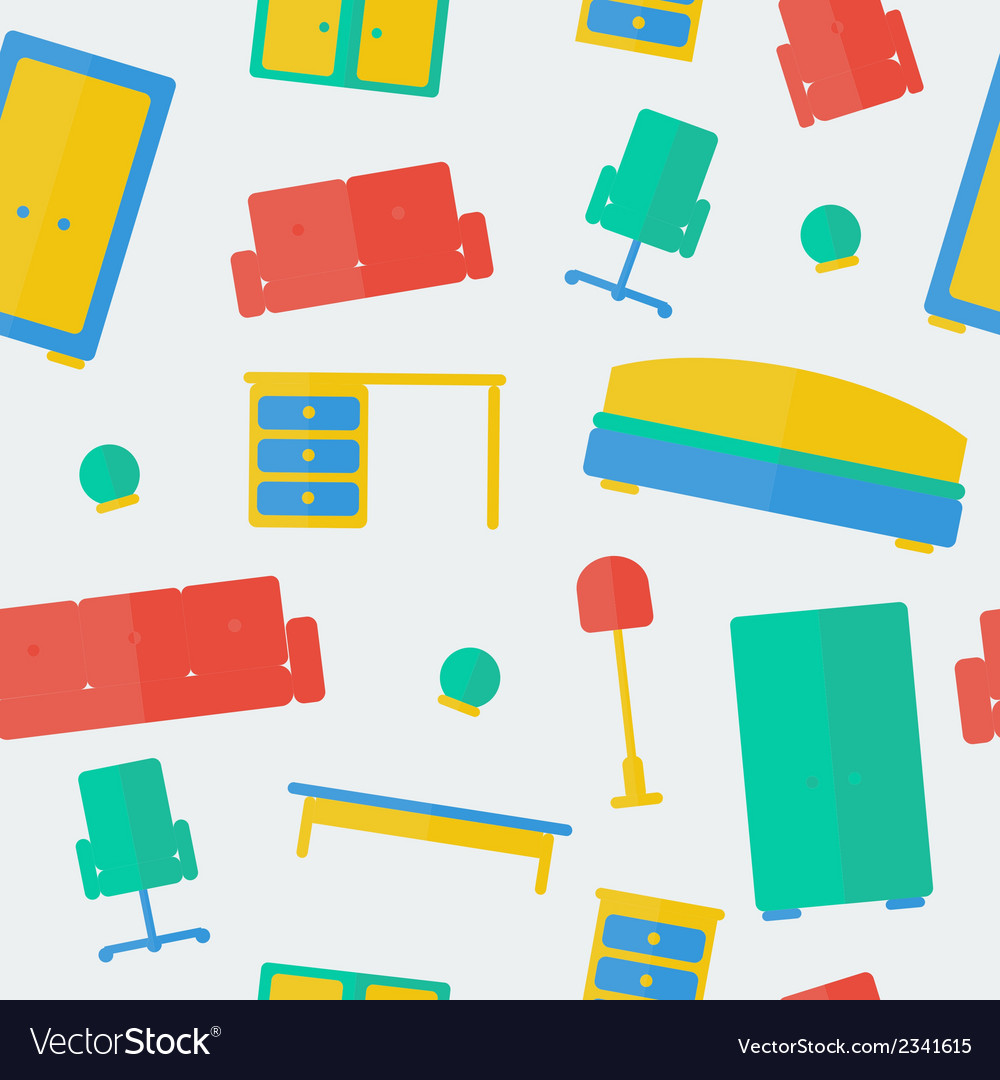 Seamless pattern of furniture vector | Price: 1 Credit (USD $1)