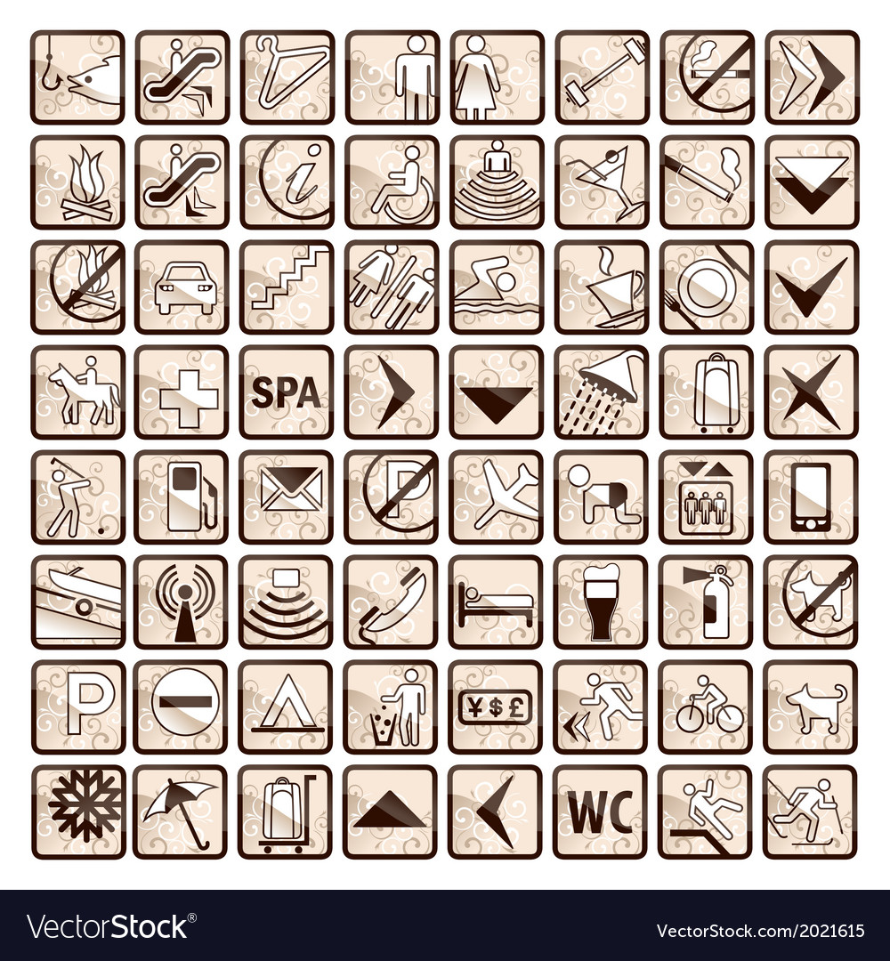 Sepia set of 64 stylish hotel icons vector | Price: 1 Credit (USD $1)