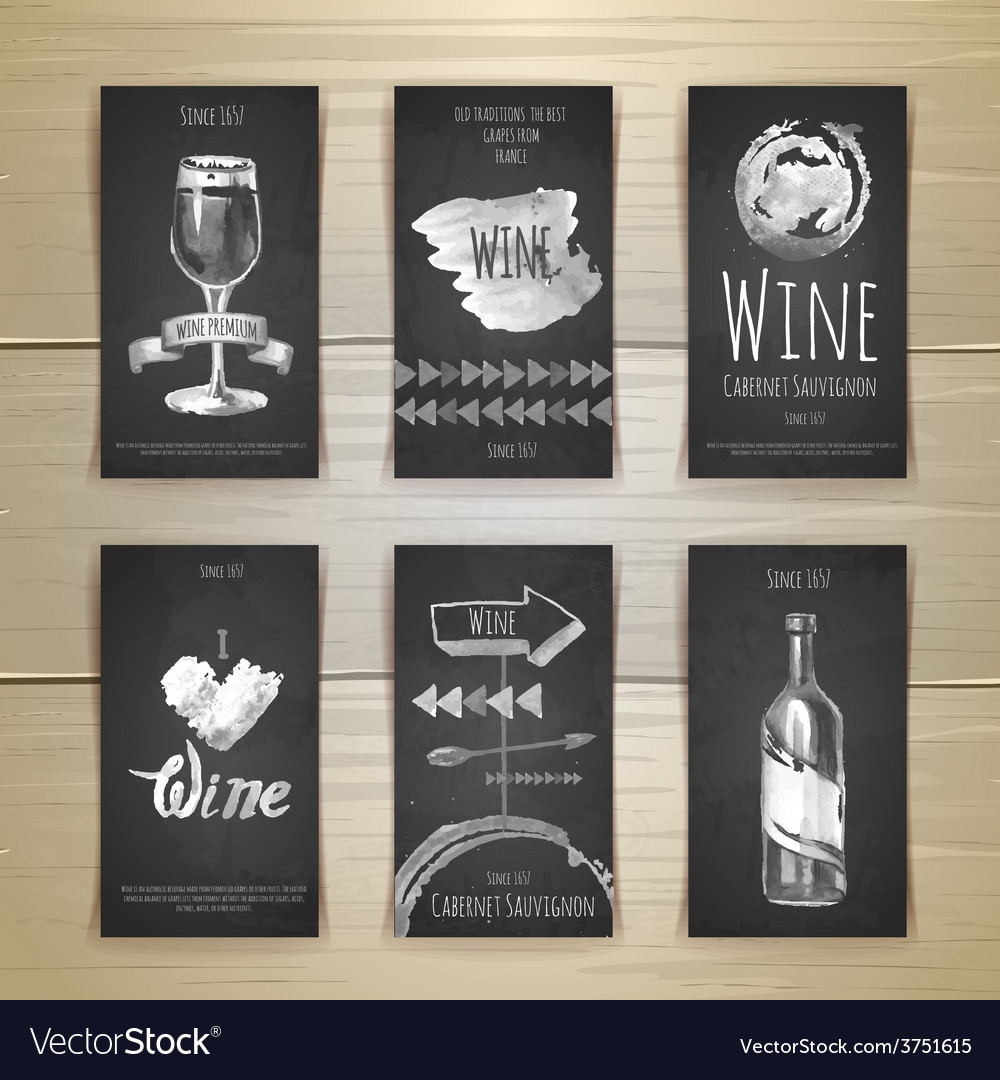 Set of art wine cards and labels design vector | Price: 1 Credit (USD $1)