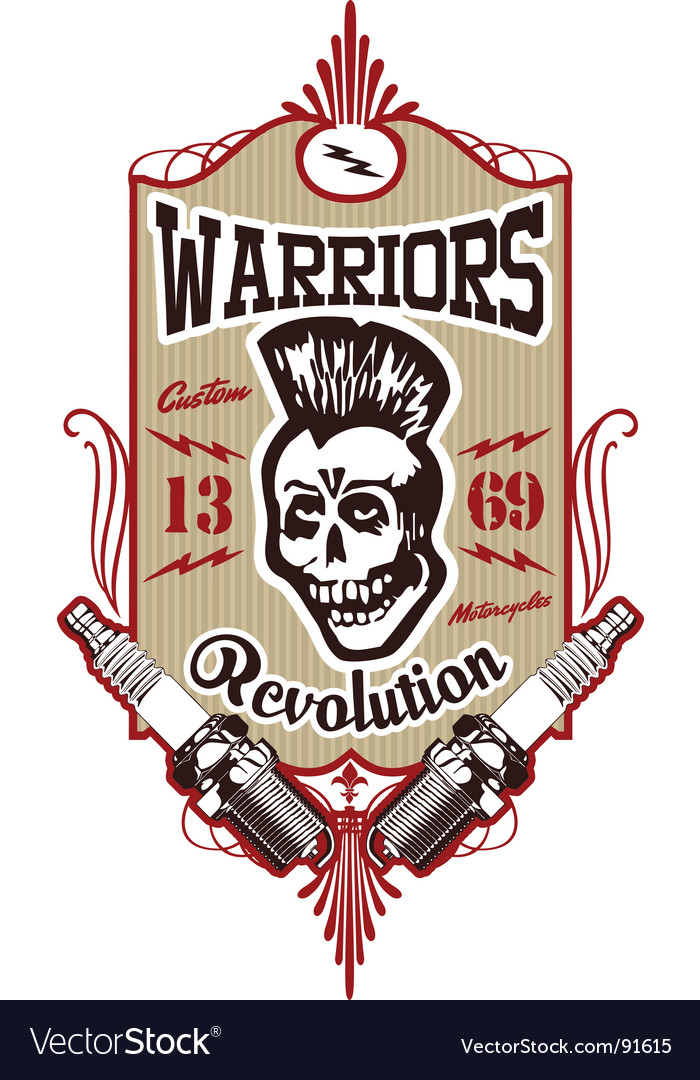 Skull punk warrior vector | Price: 1 Credit (USD $1)
