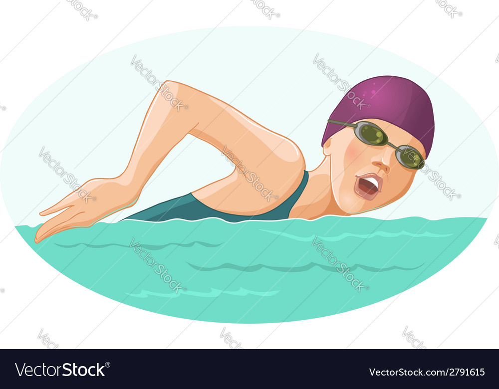 Swimming woman vector | Price: 1 Credit (USD $1)