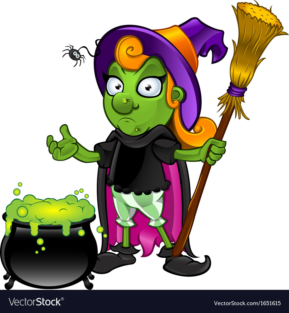 Witch looking unsure with cauldron vector