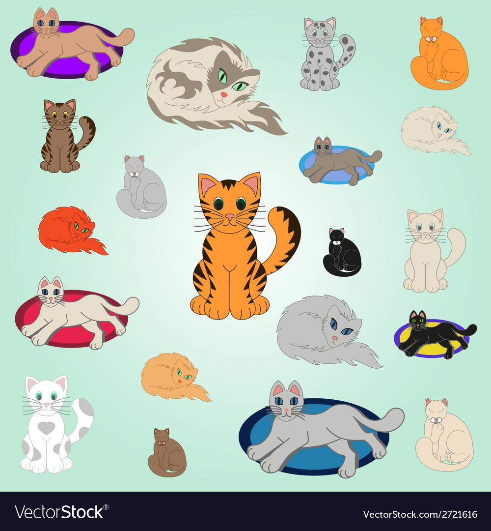 20 cartoon cats vector | Price: 1 Credit (USD $1)