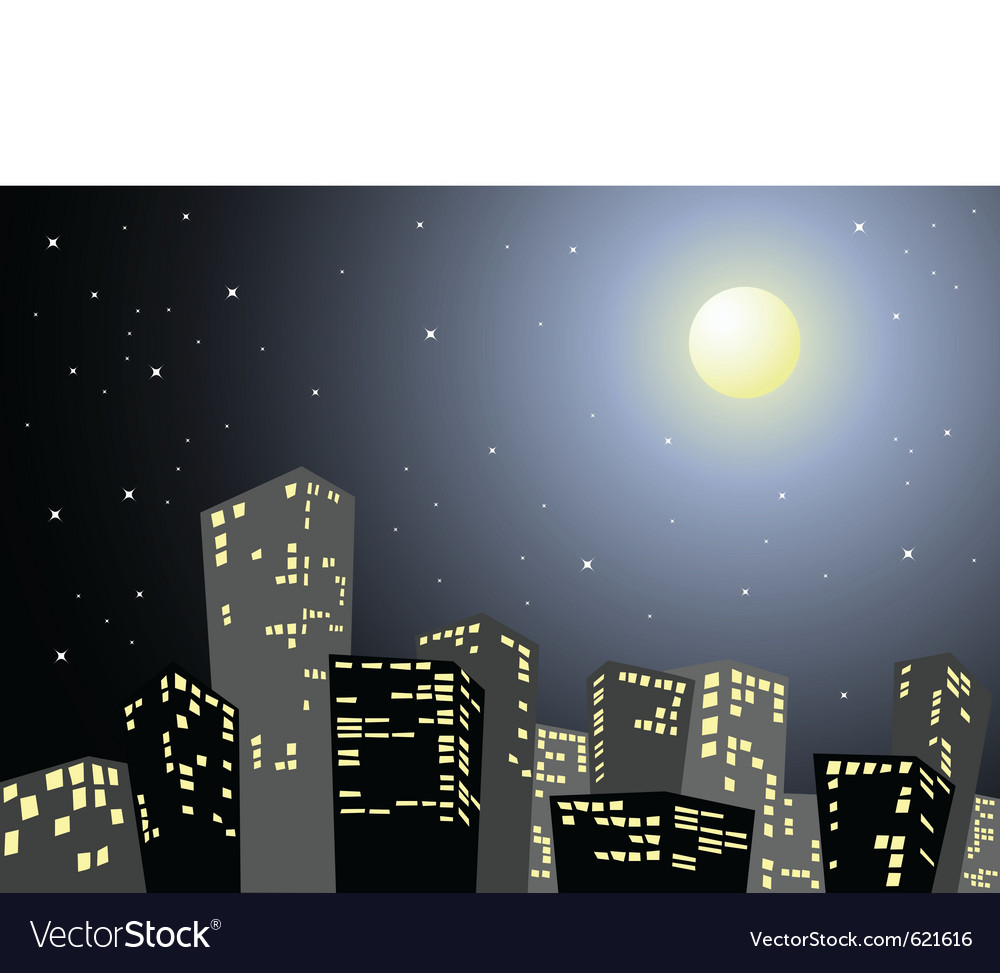 City in the night vector | Price: 1 Credit (USD $1)