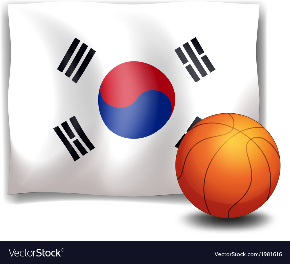 The flag of korea at the back of a ball vector | Price: 1 Credit (USD $1)
