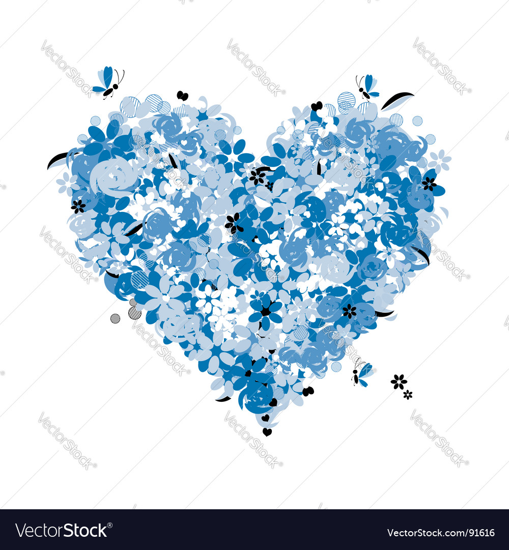 Floral heart shape love vector | Price: 1 Credit (USD $1)