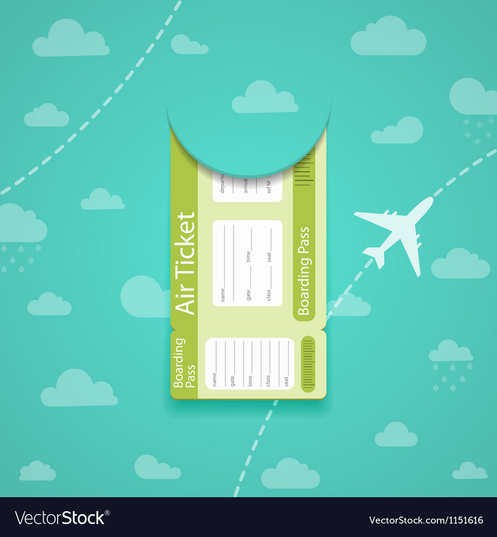 Green air ticket on sky background vector | Price: 1 Credit (USD $1)