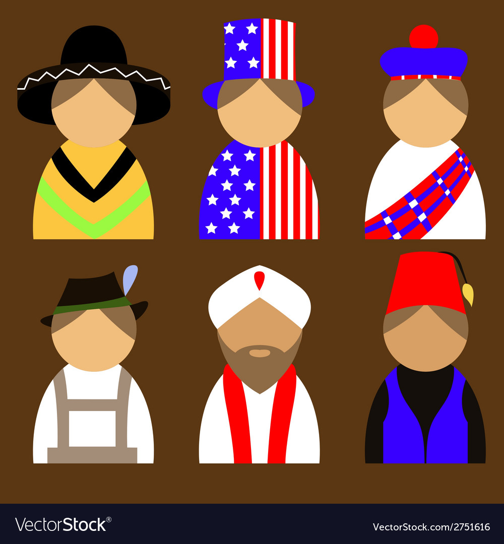 People in nationail costumes vector | Price: 1 Credit (USD $1)