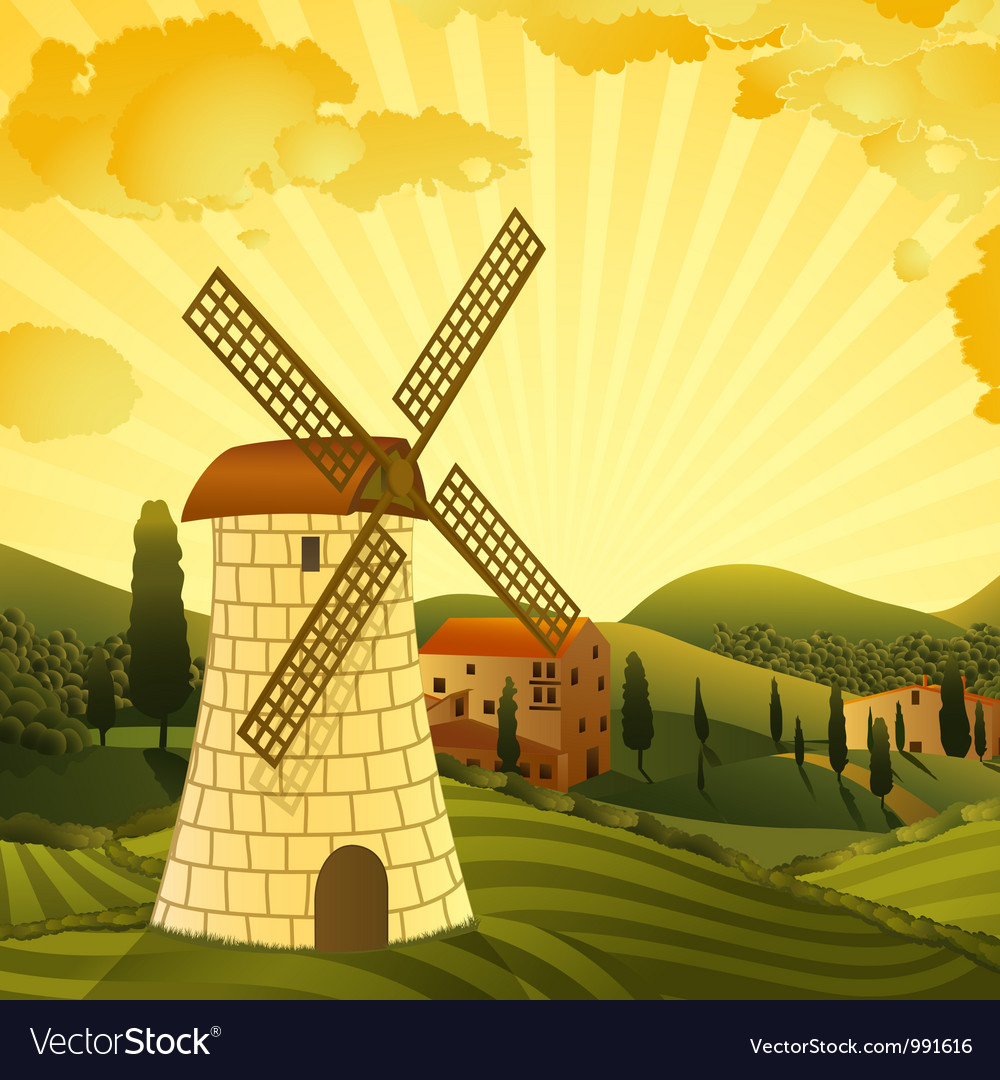 Rural landscape with a mill vector | Price: 3 Credit (USD $3)