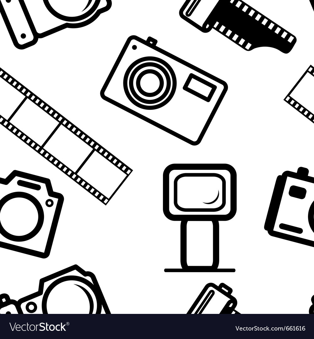 Seamless background of digital cameras tripod film vector | Price: 1 Credit (USD $1)