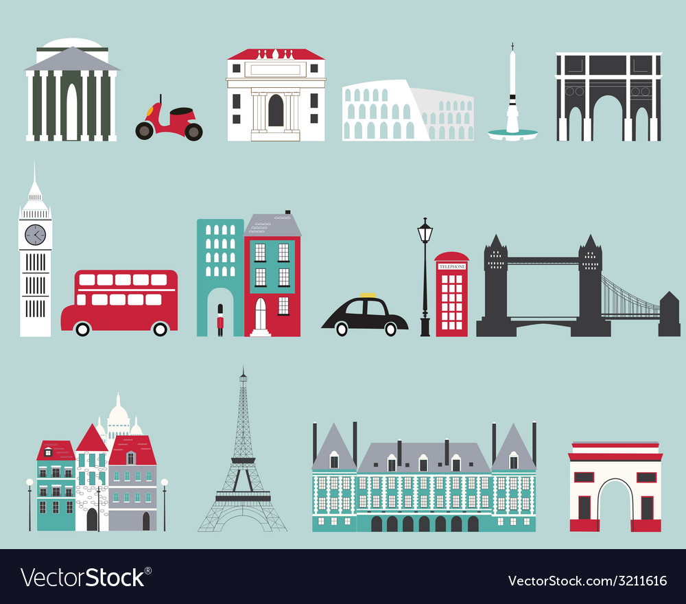 Symbols of famous cities vector | Price: 1 Credit (USD $1)