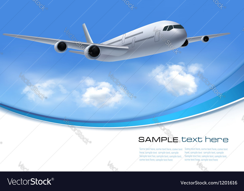 Travel background with airplane and white clouds vector | Price: 3 Credit (USD $3)