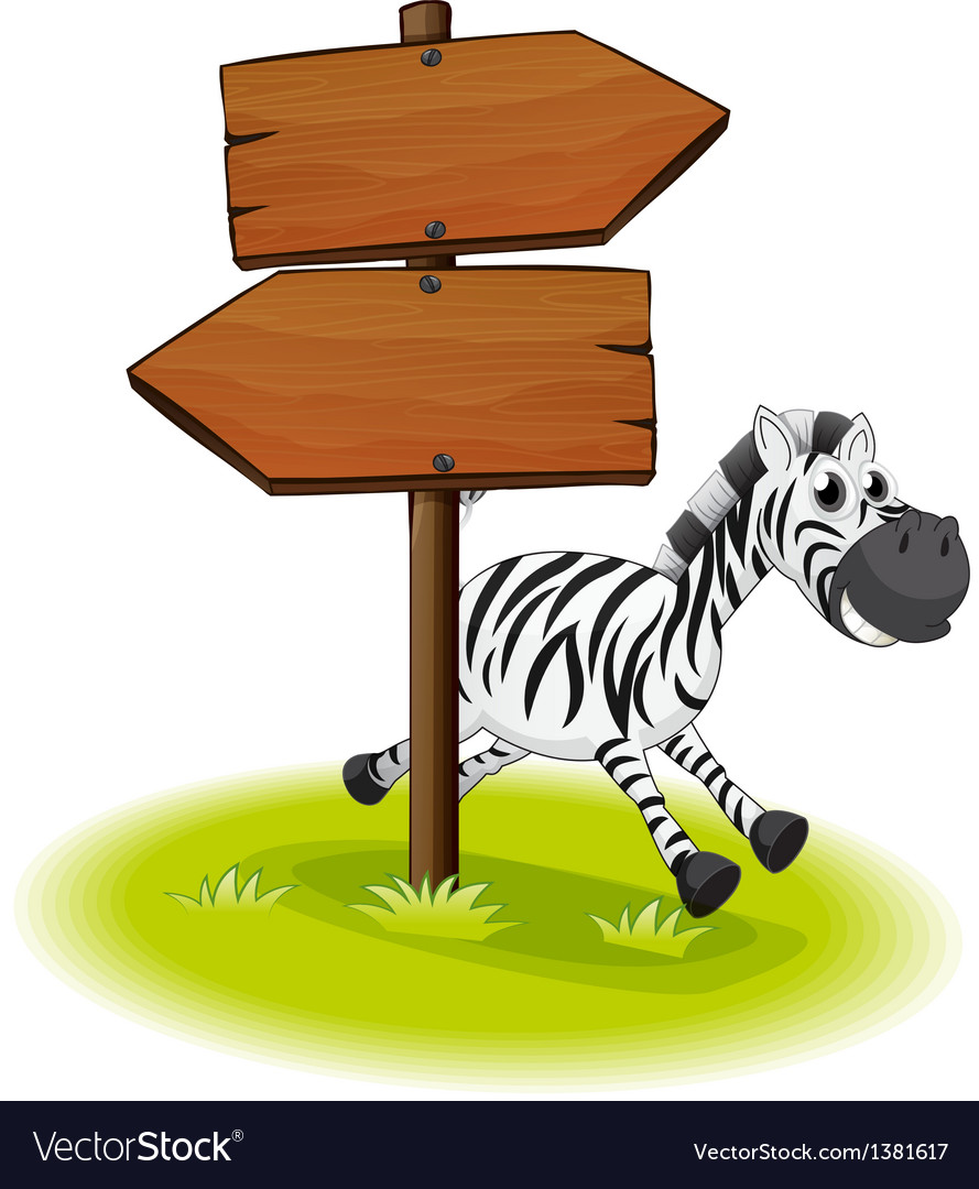 A zebra at the back of a wooden arrow board vector | Price: 1 Credit (USD $1)