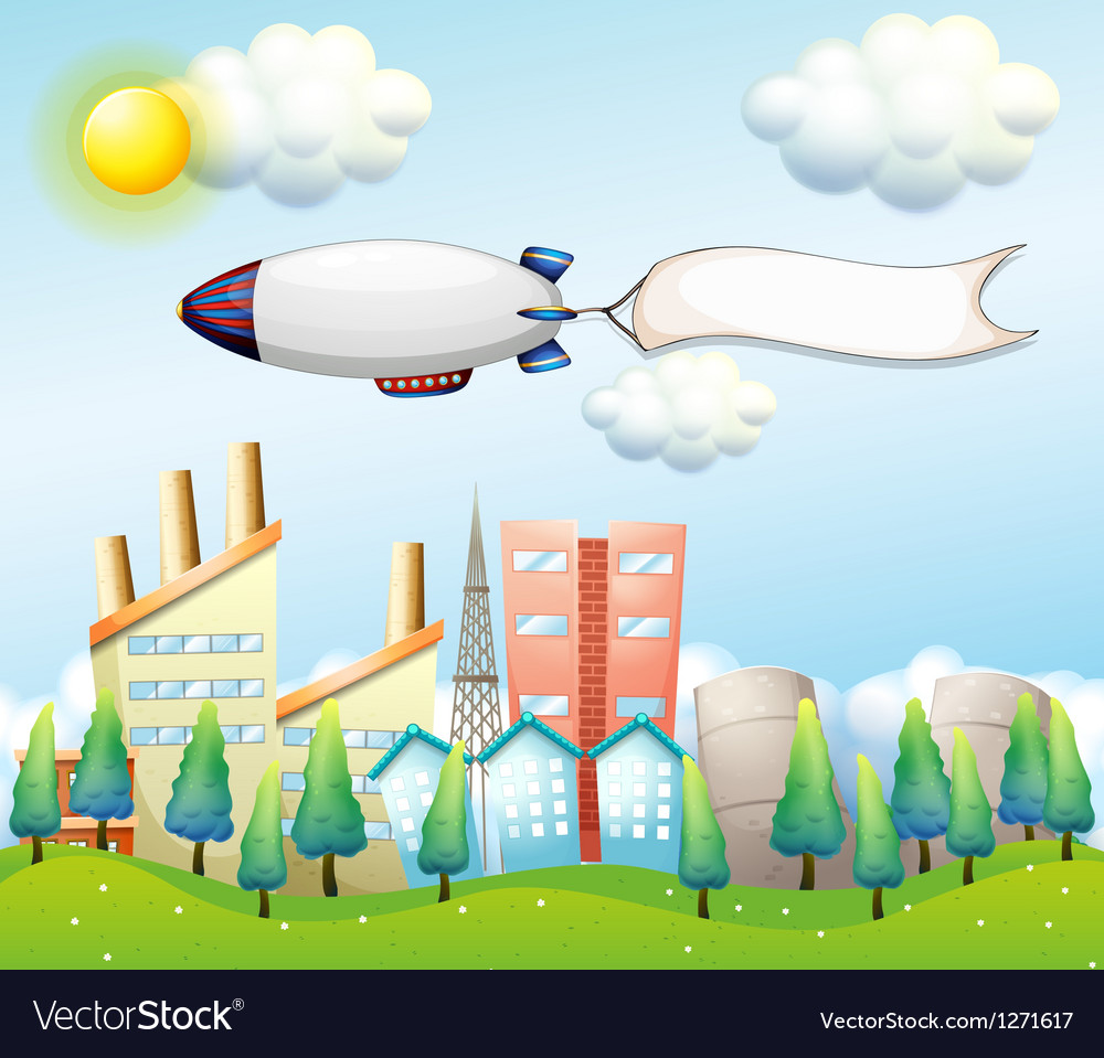 An airship with an empty banner above the high vector | Price: 1 Credit (USD $1)