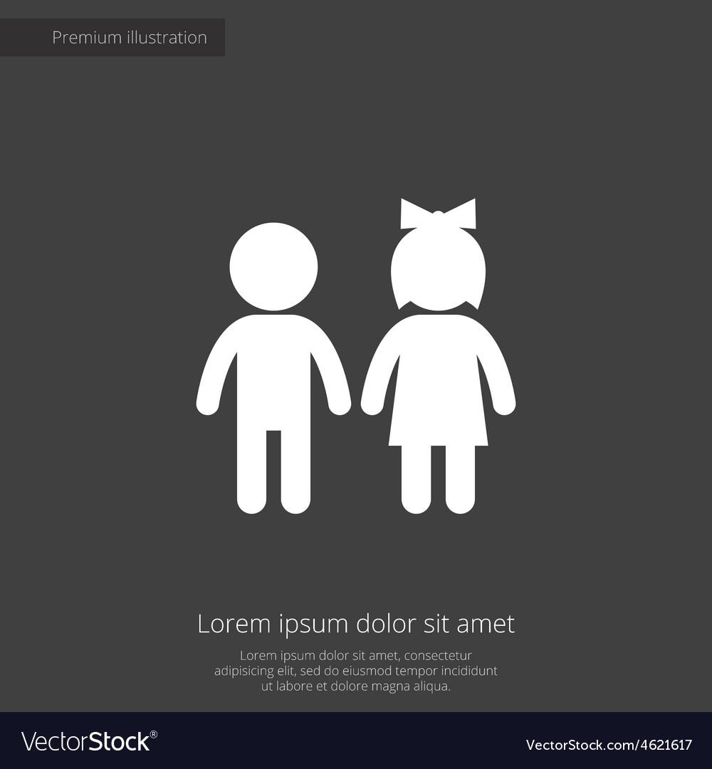Girl and boy premium icon vector